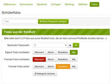 Screenshot der Administration