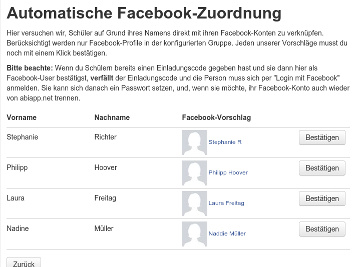 "Screenshot des Features                                                        ""Facebook-Integration"""